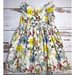 Baby Gap Cream Woven Floral Ruffled Dress 5 Years